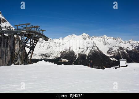 The slopes of Sella Nevea at the end of the ski season in early April, Friuli Venezia Giulia, north east Italy - Stock Photo