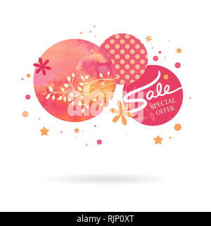 Abstract modern graphic design elements. Circle and star shapes with polka dot spots and watercolor painted background texture are layered in a pink a - Stock Photo