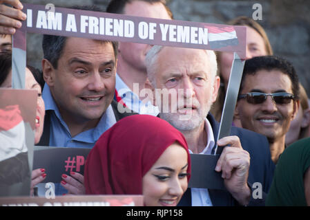 Stephen Twigg MP (L), Member of the United Kingdom Parliament for Liverpool West Derby, and Rt. Hon. Jeremy Corbyn MP (R), Leader of the United Kingdo - Stock Photo