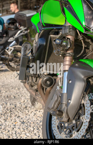 Detail Motorcycle wheel and Disc Brake ABS brakes part of the motorcycle. - Stock Photo