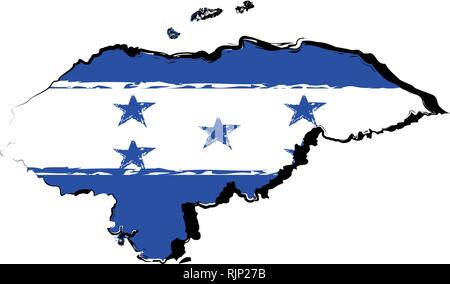Map of Honduras with flag - Stock Photo