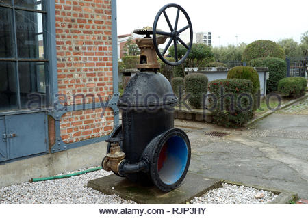 Water Museum - a large valve on display outside the museum in Thessaloniki, Central Macedonia, Greece. - Stock Photo
