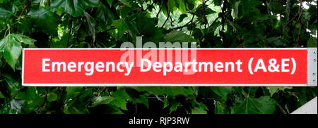 Accident & Emergency sign at a British NHS Hospital. The National Health Service (NHS) is the public health service in the United Kingdom. Established in 1948 - Stock Photo