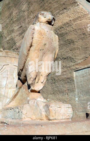 A photograph taken of the Abu Simbel Temple, in Nubia, Southern Egypt, near the border with Sudan. The complex is a UNESCO World Heritage Site. The temple dates to the 13th century BC, during the 19th dynasty reign of the Pharaoh Ramesses II. It is a monument to the king and commemorates his victory at the Battle of Kadesh. The complex was relocated in its entirety in 1968 under the supervision of a Polish archaeologist, Kazimierz Michalowski, on an artificial hill made from a domed structure, high above the Aswan High Dam reservoir. - Stock Photo