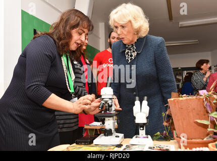 The Duchess of Cornwall meets the people who grow garden produce at the Lambeth GP food Co-op, at the Stockwell community centre during a reception for their 6th anniversary in Stockwell, south London. - Stock Photo