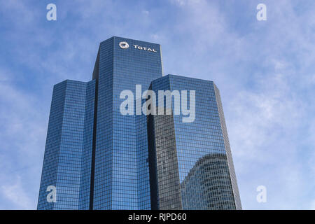 Tour Total or Total tower is an office skyscraper located in La Défense, Courbevoie - Stock Photo