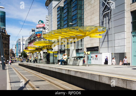 Exchange Square Manchester Metrolink station on Corporation Street in in Manchester city centre. - Stock Photo