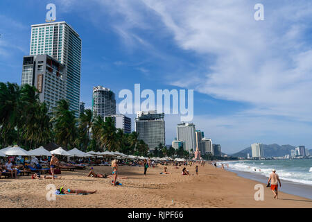 Beautiful sea view in South Central Coast Vietnam. An area with many famous tourist destinations such as nha trang and mui ne. - Stock Photo
