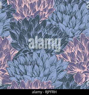 Peony hand drawn seamless pattern. Floral ink pen color texture. Sketch flowers color illustration. Chrysanthemums vintage freehand drawing. Sketched wrapping paper, textile, background vector fill - Stock Photo
