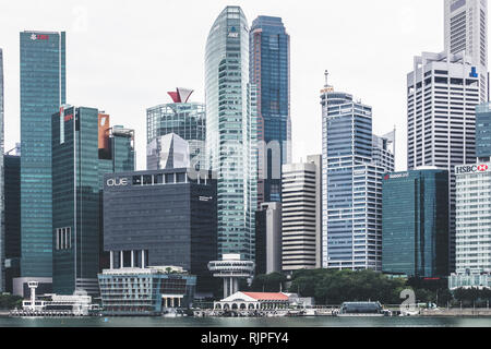 Singapore / Singapore - January 15 2019: Singapore  Raffles Place office buildings architectural close up details aerial view in elegant retro muted c - Stock Photo
