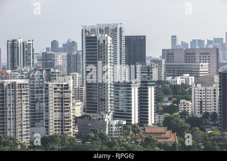 Singapore / Singapore - January 15 2019: Singapore Toa Payoh Balestier high density buildings aerial view in elegant retro muted colours - Stock Photo