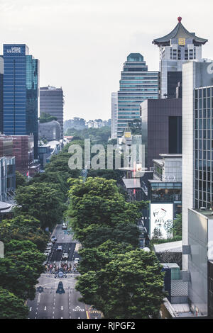 Singapore / Singapore - January 15 2019: Singapore Orchard Road shopping mall building architectural aerial view in elegant retro muted colours - Stock Photo
