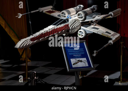 A brick built Lego model of the X-Wing known from the Star Wars saga created by Ryan McNaught aka The Brickman - Stock Photo