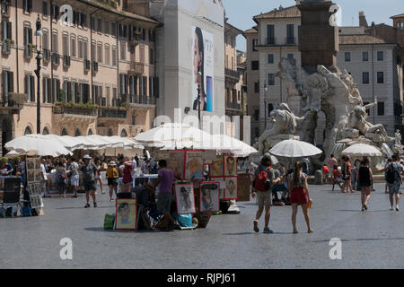 Tourists at the Piazza Navona, Rome, Italy - Stock Photo