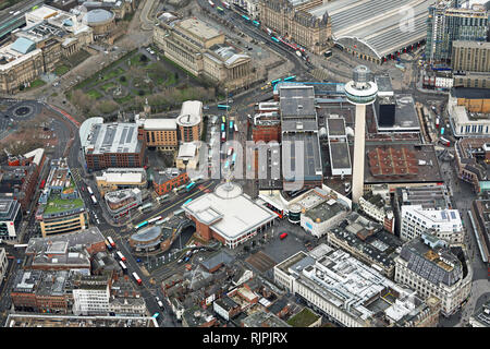 aerial view of St Johns Shopping Centre and surrounding area in Liverpool city centre - Stock Photo