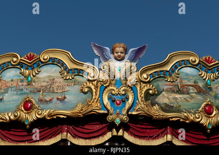 Detail of an angel at a historic carousel, Rome, Italy - Stock Photo