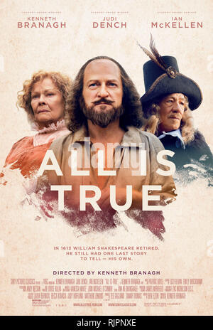 ALL IS TRUE, US poster, (from left): Judi Dench (as Anne Hathaway), Kenneth Branagh (as William Shakespeare), Ian McKellen (as Henry Wriothesley, 3rd Earl of Southampton), 2018. © Sony Pictures Classics / courtesy Everett Collection