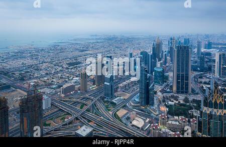 Skyscrapers along Sheikh Zayed Road, Dubai, UAE - Stock Photo