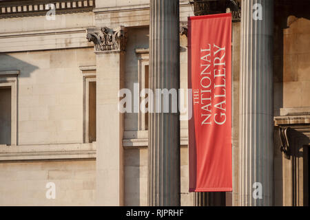 London, Uk - February 4, 2019 - Detail of the facade of the London National Gallery at Trafalgar Square - Stock Photo