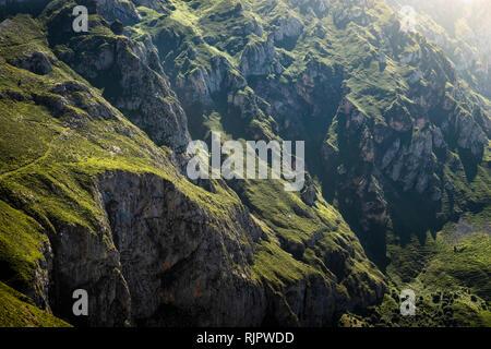 Rugged landscape near Fuente De in national reserve Parque National de los Picos de Europa, Potes, Cantabria, Spain - Stock Photo