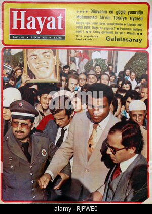 Turkish press coverage of the 1976, visit to Turkey by Muhammad Ali,(1942 - 2016). Ali was an American professional boxer and activist; He is widely regarded as one of the most significant and celebrated sports figures of the 20th century. - Stock Photo