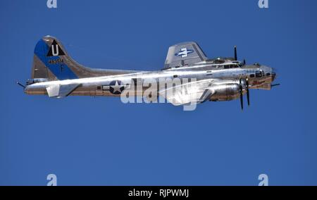 A beautifully restored World War 2 era B-17 bomber flies at Luke Days in Arizona in 2018