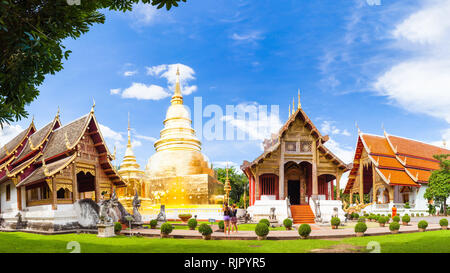 Thailand temple Doi Suthep in Chiang Mai one of the main attractions of northern Thailand attracting hundreds of traveling tourists - Stock Photo