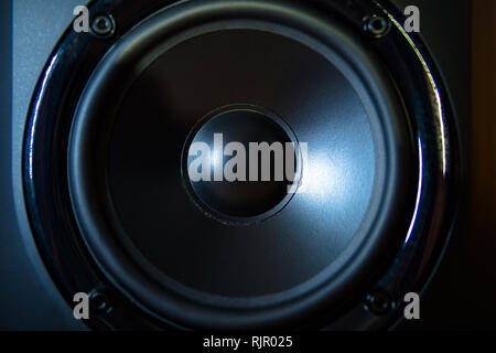 Close up of professional loudspeaker at music studio. Dance, disco, entertainment - Stock Photo