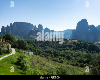Panoramic view of Meteora rocks on a clear summer day - Stock Photo