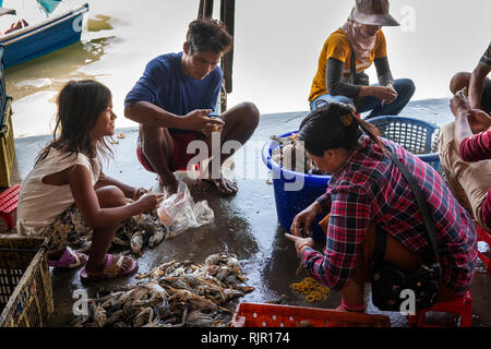 Cambodia, Preah Koh Kong, Prek Kaoh Pao river, Dong Tung Port building, fishing family sorting catch of crabs on quay