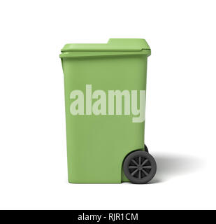 3d rendering of a light-green trash can isolated on white background. Pick up trash. Keep urban areas clean. Recycle waste. - Stock Photo