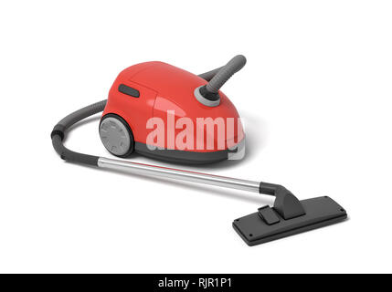 3d rendering of red electric vacuum cleaner isolated on white background. Digital art. Home cleaning. Electric devices. - Stock Photo
