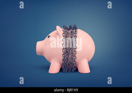 3d rendering of a pink piggy bank bound in chains in the middle of its body on a blue background. Banking and finance. Account freeze. Cost cutbacks. - Stock Photo