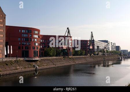 New housing area in inner harbor Duisburg - Stock Photo