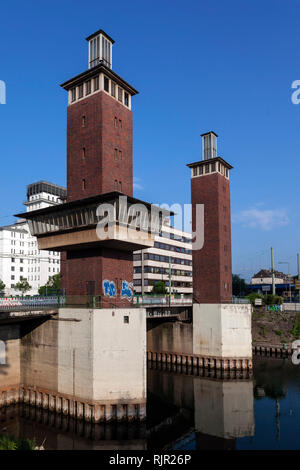 Schwanentorbruecke in the Duisburger Innenhafen - Stock Photo