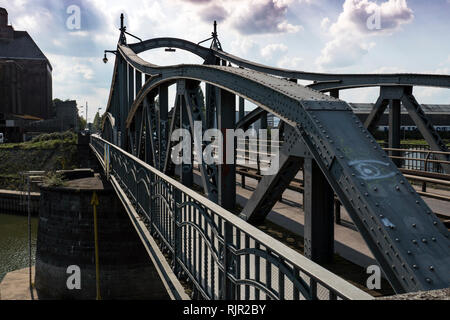 Historic steel bridge in the Krefelder Rheinhafen - Stock Photo