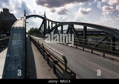 Historic steel bridge in the Krefelder Rheinhafen - Stock Photo