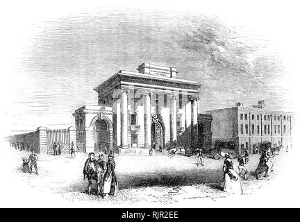 Birmingham railway station in central Birmingham, England, opened in 1838. Designed by Philip Hardwick. Roman inspired, following Hardwick's trip to Italy in 1818–19 and built in 1838, it is (now) the world's oldest surviving piece of monumental railway architecture. The design mirrored the Euston Arch at the London end of the L&BR. In the original design the building was to be flanked by two arches leading into the station. - Stock Photo