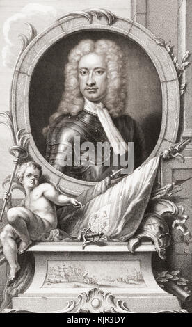 Charles Mordaunt, 3rd Earl of Peterborough and 1st Earl of Monmouth, 1658 to 1735.  English nobleman and military leader. From the 1813 edition of The Heads of Illustrious Persons of Great Britain, Engraved by Mr. Houbraken and Mr. Vertue With Their Lives and Characters. - Stock Photo