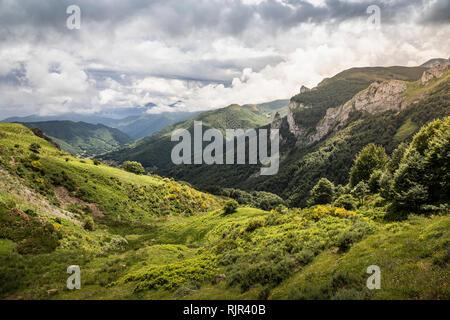 Landscape near Fuente De in national reserve Parque National de los Picos de Europa, Potes, Cantabria, Spain - Stock Photo