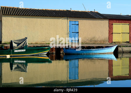 Huts and fishing boats in Palavas les Flots, Occitanie France - Stock Photo