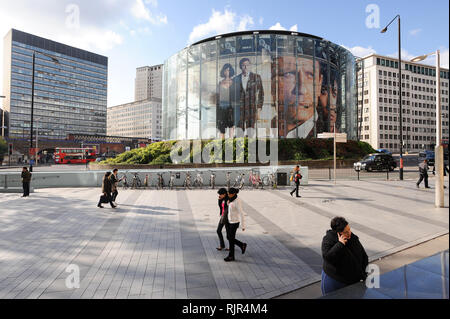 Huge James Bond film Quantum Of Solace poster with Daniel Craig and Olga Kurylenko in BFI IMAX on Charlie Chaplin Road in London, England, United King - Stock Photo