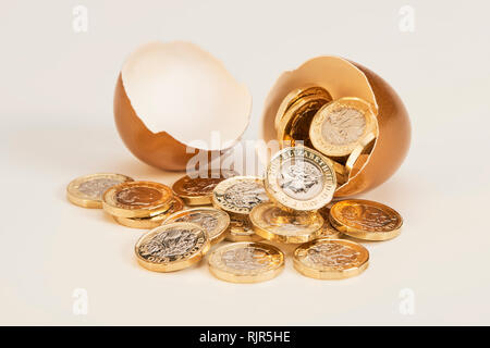 Golden Nest Egg with Shinny Pound Coins - Stock Photo