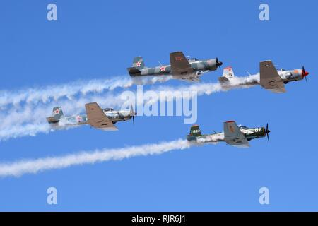 Historic recreation aircraft of Japanese World War 2 era fighters owned by the Commemorative Air Force - Stock Photo