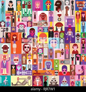 Large vector collage of various people portraits. Can be used as seamless background. - Stock Photo