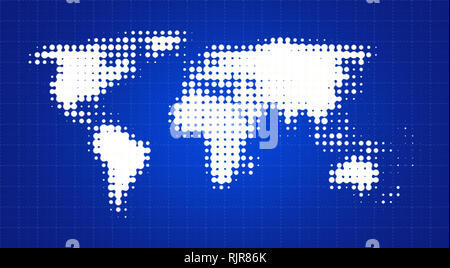 Abstract white dotted world map on a soft and blurred blue gradient background with square grid made of dashed lines. - Stock Photo