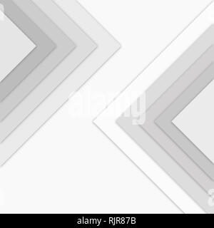 Large monochrome gray triangles with drop shadows on top of each others. Simple abstract pattern for design or background. - Stock Photo