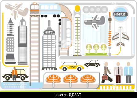 Airport - vector illustration. White background. - Stock Photo