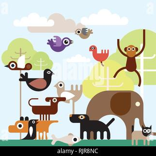 Jungle Animals - vector illustration. - Stock Photo