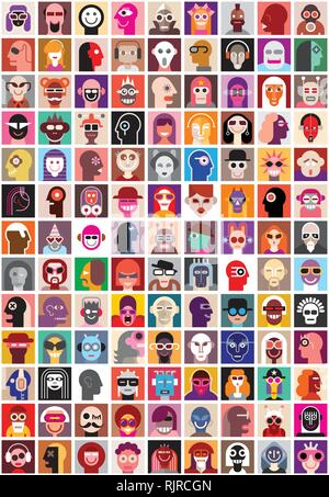 People faces vector set. Collage of closeup portraits. Seamless wallpaper. - Stock Photo